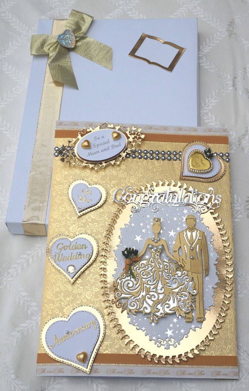 Large A4 Hand Made Boxed Keepsake GOLDEN WEDDING ANNIVERSARY CARD